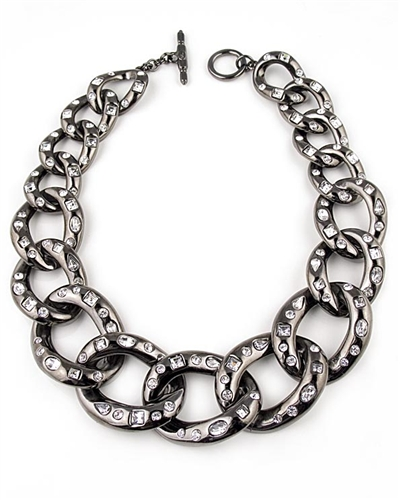 Kenneth Jay Lane Gunmetal Links Necklace with Swarovski Crystals