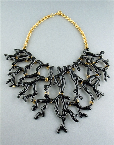 Black Enamel Bid Branch Necklace by Kenneth Jay Lane