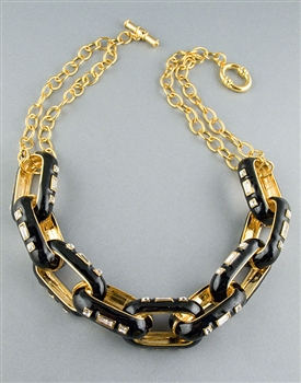 Black Enamel Link Necklace by Kenneth Jay Lane