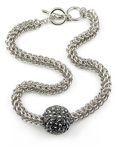 Kenneth Jay Lane Silver Chain Necklace & Gunmetal Disco Ball