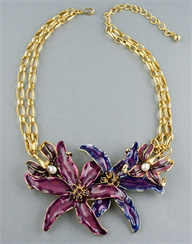 Multi Colour Enamel Flower Necklace by Kenneth Jay Lane