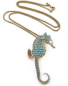 Kenneth Jay Lane Antique Gold Seahorse Necklace