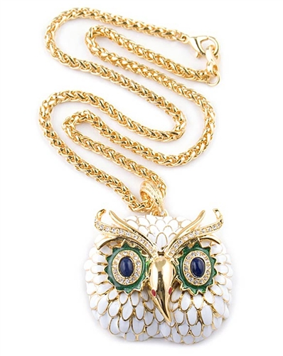 Kenneth Jay Lane White Enamel Owl Pendant Necklace