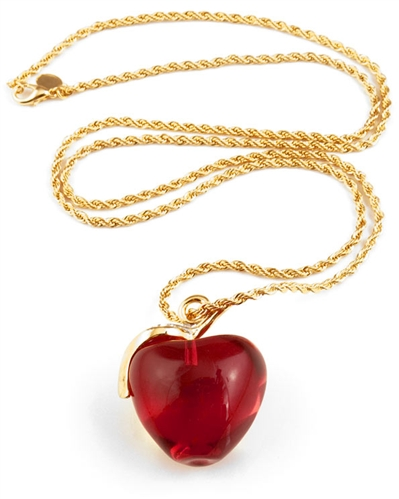 Kenneth Jay Lane Red Transparent Apple Necklace