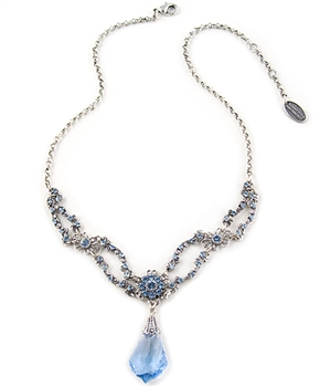 Silver Pendant Necklace with Blue Swarovski Crystals by KennyMa