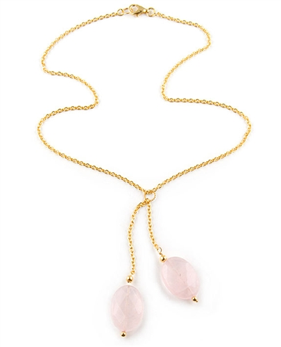 Gold Chain Necklace with Rose Quartz Semi-Precious Stones by Lab33
