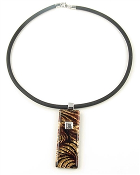 Brown & Gold Murano Glass Pendant Necklace With Sterling Silver by Farfallina