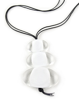 White & Clear Murano Pendant Necklace by Farfalina