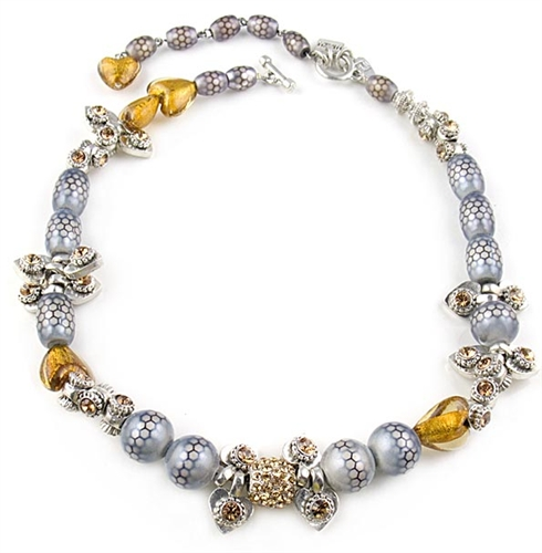 Otazu Silver Beads Necklace with Topaz Swarovski Crystals