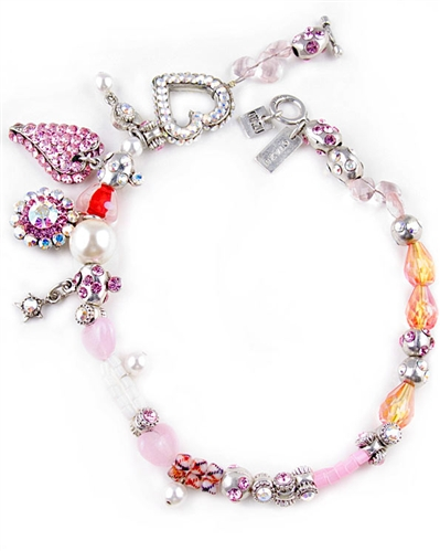 Otazu Pink Charm Necklace with Swarovski Crystals