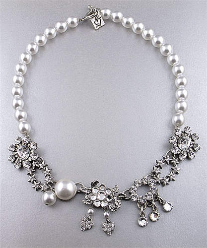 Otazu White Pearls & Swarovski Crystals Necklace