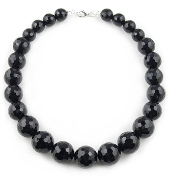 Black Necklace with Onyx Semi-Precious Stones by Paula Rosellini