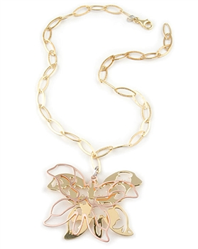 Gold Double Butterfly sterling silver Pendant Necklace by Paula Rosellini