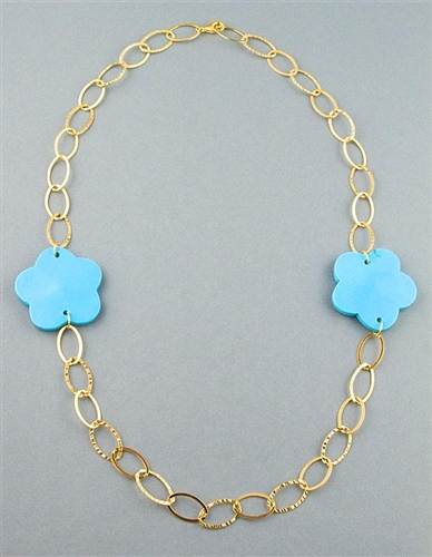 18K Gold Sterling Silver Necklace with Turquoise flowers by Paula Rosellini