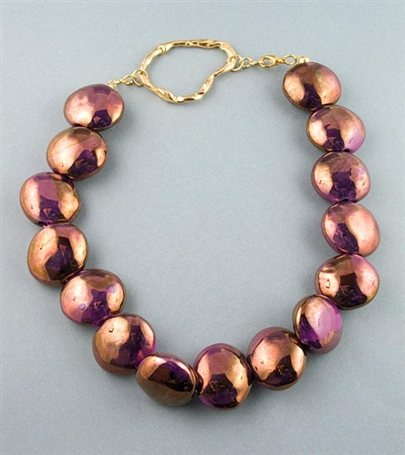Bronze iridescent beads necklace by Paula Rosellini