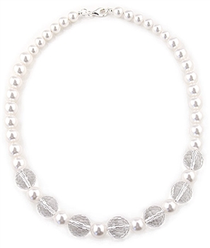 Swarovski Pearl Necklace & Rock Crystal Quartz by Paula Rosellini