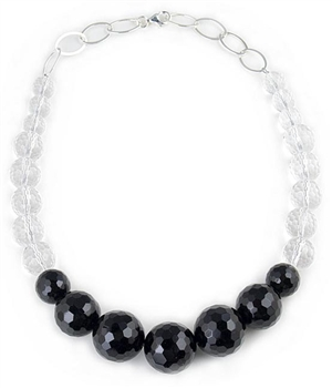 Onyx & Rock Crystal Semi-Precious Necklace