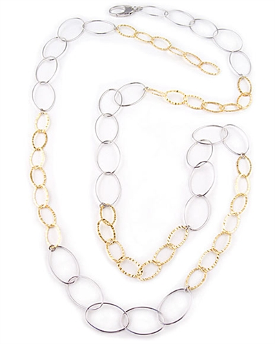 120cm Sterling Silver & Gold Chain Necklace by Paula Rosellini