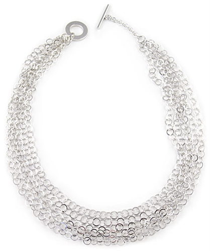 Sterling Silver Chains Necklace by Paula Rosellini