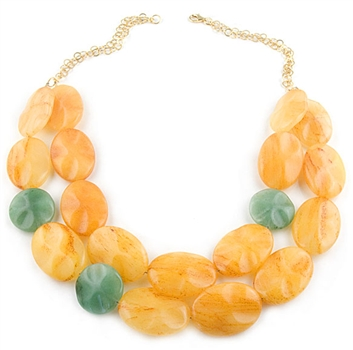 Yellow & Green Agate Semi-Precious Stones Necklace by Paula Rosellini