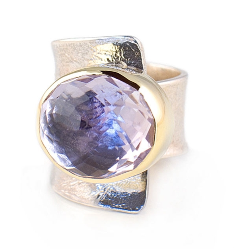 18K Gold & Solid Sterling Silver Ring with Amethyst Gemstone by Elefteriu