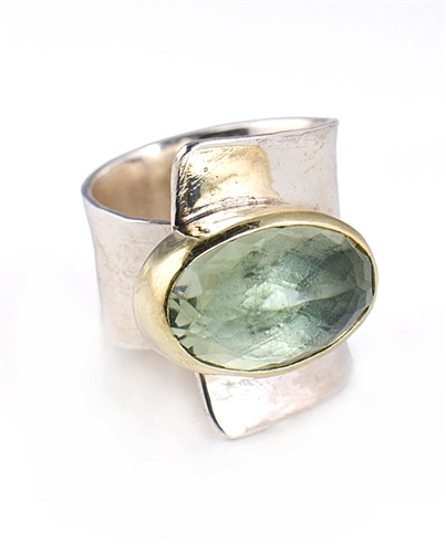 18K Gold & Solid Sterling Silver Ring with Green Amethyst Gemstone by Elefteriu