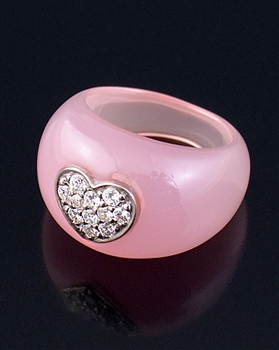 Pink Resin & Sterling Silver Heart Ring by JC Bertranet