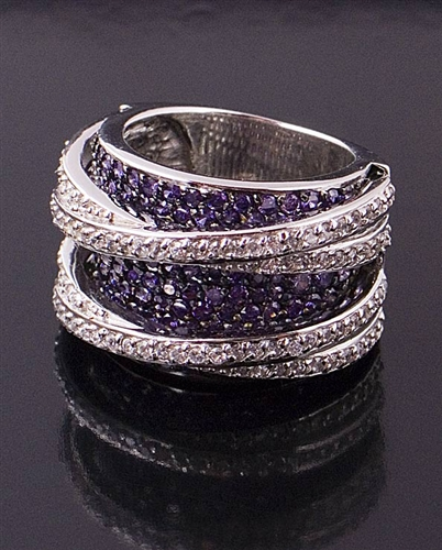Sterling Silver Ring with Amethyst Cubic zirconia by JC Bertranet