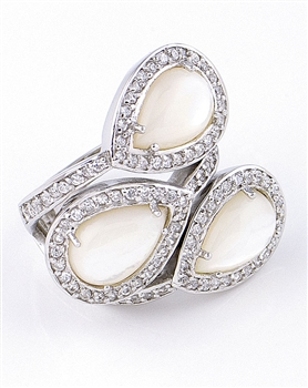 Sterling Silver Ring with Mother of Pearl & Cubic Zirconia by JC Bertranet