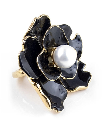 Kenneth Jay Lane Black Flower Ring with Pearl