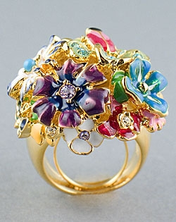 Flowers and Bug Gold Ring by Kenneth Jay Lane