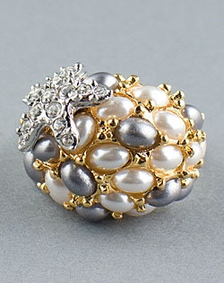 Gold Pearl Ring with Starfish Kenneth Jay Lane