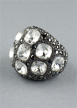 Gunmetal Crystal Dome Ring by Kenneth Jay Lane