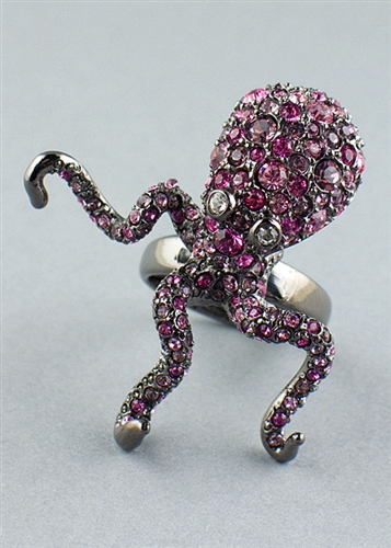 Pink Crystals Octopus Ring by Kennth Jay Lane