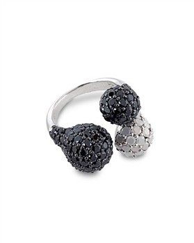 Black/White Sterling Silver Ring with Cubic Zirconia by Monaco