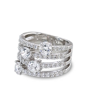 Sterling Silver with Cubic Zirconia Ring by Monaco