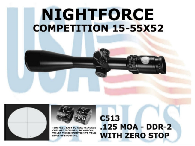 NIGHTFORCE COMPETITION 15-55X52 DDR-2 WITH ZERO STOP