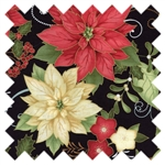Home for the Holidays Poinsettias Black 03261-12 from Benartex
