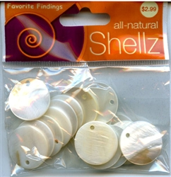 "3/4"" White Round Buttons All-Natural Shellz  #1828 from Blumenthal Lansing Co."