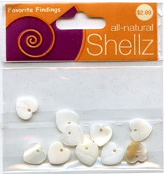 "7/16"" White Heart Buttons All-Natural Shellz  #1834 from Blumenthal Lansing Co."