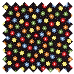 Holly's Dolls Retro Flowers Black 8011-013 for Blue Hill Fabrics