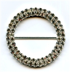 Silver Rhinestone Round Buckle CT1027 The Button Company