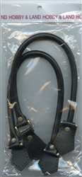 "Black Leather Purse Handles Metal Tab 19 "" from Hobby and Land"