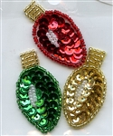 Sequined Applique Light Bulbs Gold, Red, & Kelly Green SM771B from Expo International