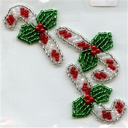 Sequined Applique Candy Cane and Holly SM986PR from Expo International