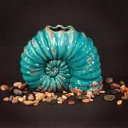 Howard Elliott Turquoise Shell Shaped Ceramic Vase