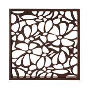 Howard Elliott Deep Brown Stained Wall Art w/ Floral Cutwork