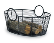 Achla Wood Basket - Steel Wire - Large