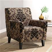 Armen Living Fiesta Club Chair In A Brown Medallion Design Fabric (LC2010FABR)
