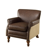 Armen Living Antique Brown Club Chair With Natural Jute  And Accent Nails (LC2096CLBR)